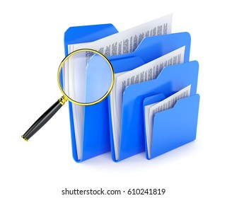 Searching a files in folder isolated on white.3d illustration