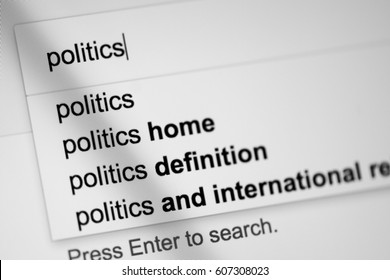 Searching for information about politics online within a search browser window on a digital screen.