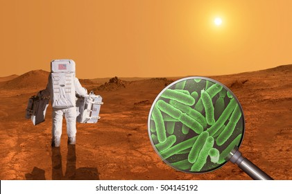 Searching for life on planet Mars - Elements of this image furnished by NASA