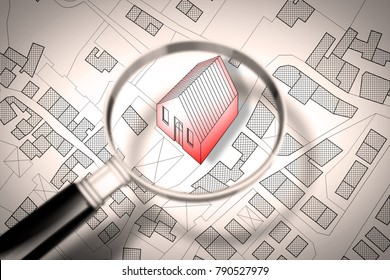 Searching new home concept image - Imaginary cadastral map of territory with buildings and roads through magnifying glass