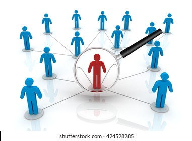 searching right person  3D illustration