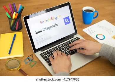 Searching SELF DIAGNOSIS on Internet Search Engine Browser Concept
