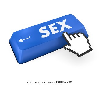 searching for sex or asking a sex question, with message on computer keyboard.