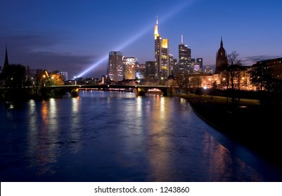 Searchlight and Evening view of Frankfurt