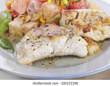 Seared Mahi Mahi Fillets with Vegetables and Sauce