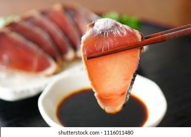 Seared Skipjack Tuna slices.