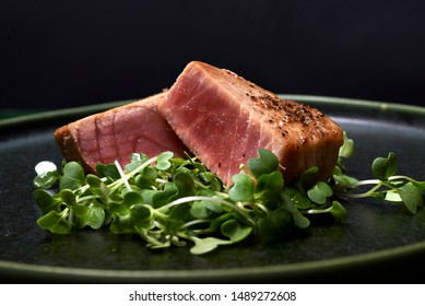 seared tuna steak with microgreen as garnish