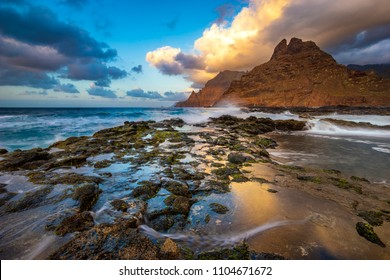 seascape - Anaga Mountains growing directly from the oceans at Punta del Hidalgo in Tenerife