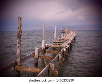 Seascape with ancient pier in Corfu, Greece