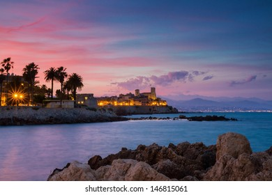 Seascape of Antibes at Sunset, Provence, France