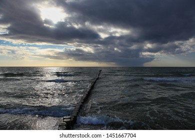 Seascape at the Baltic Sea with dramatic evening sky - Shutterstock ID 1451667704