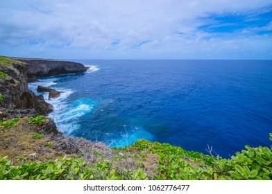 Seascape from banzai cliff, a popular attraction in Saipan