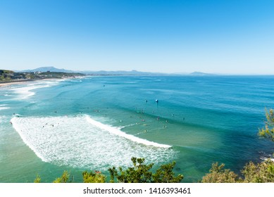 Seascape of the Basque Coast in Biarritz, France.