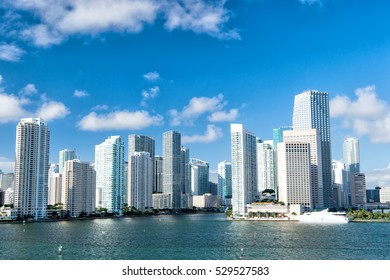 Seascape of Bayside in Miami with buildings and skyscrapers in downtown