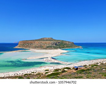 seascape of the beautiful Balos Lagoon separated from the homonym bay by a strip of sand that joins the promontory of Corico to Capo Tigani on the island of Crete in Greece