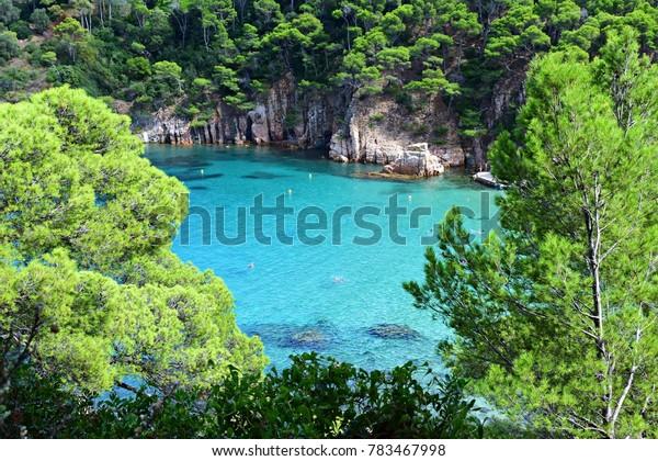 seascape of the beautiful Cala di Aiguablava on the Costa Brava in Begur, Girona, Spain
