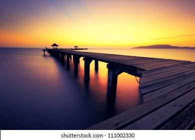Seascape before sunrise