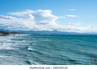 Seascape of Biarritz. Basque country of France.