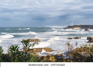 Seascape of Biarritz during the winter time. Basque Country of France.