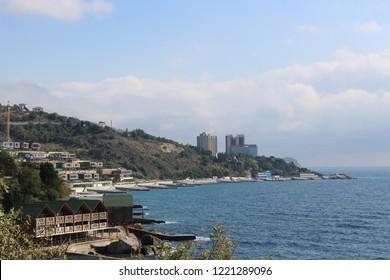 seascape black sea coast near the city of Yalta, Russia, Crimea.