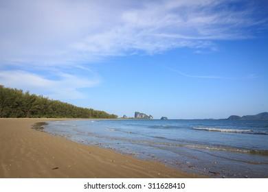 Seascape. Blue sky and white cloud. blue sea