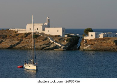 Seascape with the boat and greek architecture