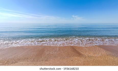 Seascape, calm at sea on a calm day. Horizontal snapshot