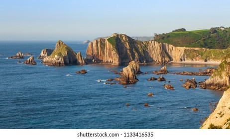 Seascape of the Cantabrian ocean in Asturias, in the north of Spain