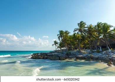Seascape of the Caribbean Sea and palm trees along the beach of Tulum, Mayan Riviera, Quintana Roo, Mexico.