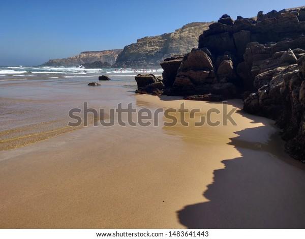 Seascape of Carvalhal beach, Costa Vicentina, Portugal.