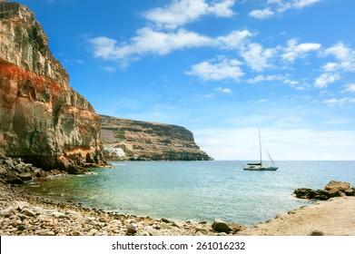 Seascape of coast of Puerto de Mogan. Gran Canaria. Canary Islands.