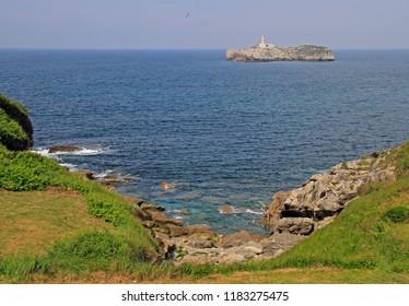 the seascape at coast of spanish city Santander