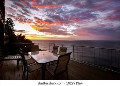 seascape of coast view at sunrise