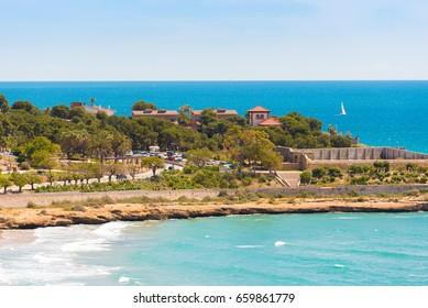 Seascape. The coastline of the Costa Dorada, Tarragona, Catalunya, Spain. Copy space. Space for text