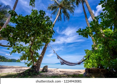 Seascape consist of blue sky, coconut palm trees, white sand beach, kayak, hammock and crystal clear emerald sea water at Koh Mak Trat Thailand
