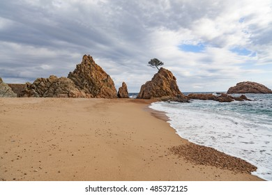 Seascape of Costa Brava,Beach of Banyeres de Ses Dones,Tossa de Mar,Catalonia,Spain.