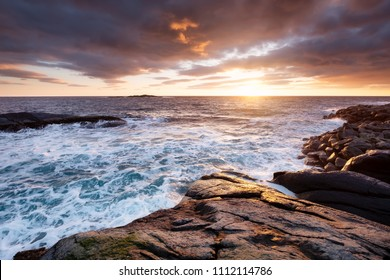 Seascape during storm and sunrise. Natural seascape in the Norway