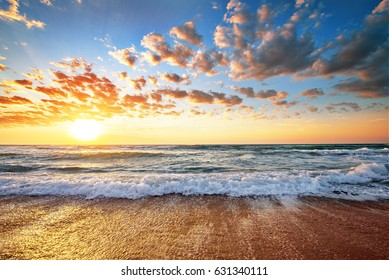 Seascape during sundown. Beautiful natural seascape.