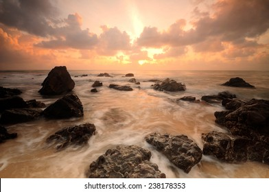 Seascape during sunrise. Beautiful natural seascape