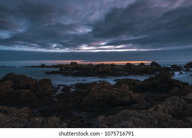 A seascape during sunset, taken at Moa Point , which is located just behind Wellington airport, in New Zealand