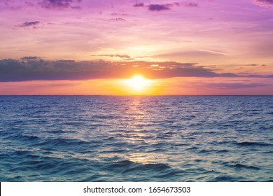 Seascape in early morning, sunrise over sea. Nature landscape