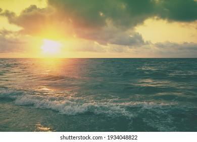 Seascape in early morning, sunrise over the sea. Nature landscape