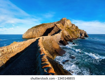 Seascape of Gaztelugatxe in Basque Country on sunny day