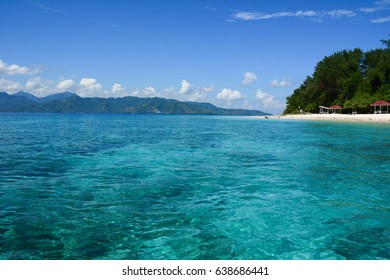 Seascape of Gili Islands in Lombok, Indonesia. The Gili Islands are an archipelago of three small islands - Trawangan, Meno and Air.