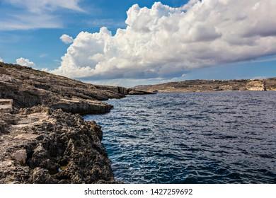 Seascape of Gozo island, ocean, cliffs, Dwejra, Gozo, Malta