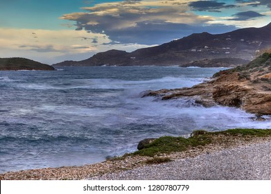 Seascape HDR Image. View of Komito Bay in Syros Island, Greece.