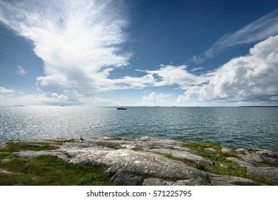 Seascape from a Helsinki shore on a beautiful summer day