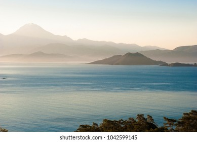 Seascape with islands. Mediterranean Sea near Göcek,Dalaman and Fethiye, Turkey.
