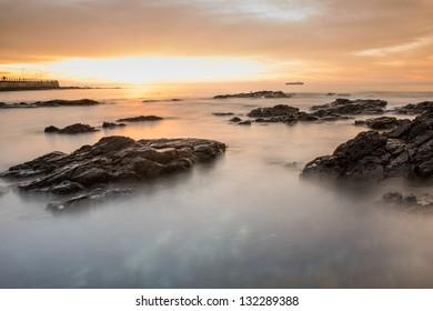 Seascape look in atlantic ocean next to Cape town, shot during sundown