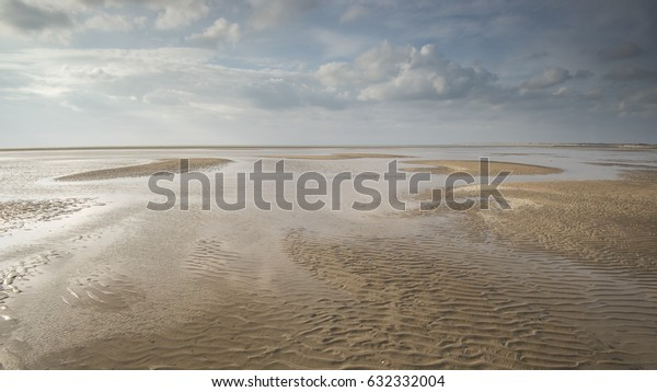 Seascape at low tide with few clouds and blue sky